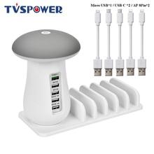 Мульти Порты и разъёмы Quick Зарядное устройство 3,0 лампа в виде гриба QC3.0 Быстрая зарядка для смартфонов+ светодиодная лампа+ USB зарядка док-станция с 5V 2.1A ЕС и США