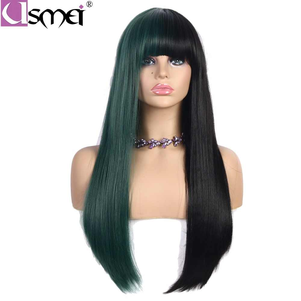 USMEI long straight synthetic wigs for women cosplay wig half black and half green color with bangs heat resistant hairpieces