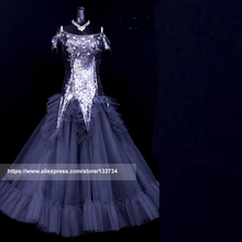 Grey Ballroom Dance Dresses Standard Stage Costume Performance Womens,Smooth Ballroom Dress,Modern Waltz Tango,competition dress