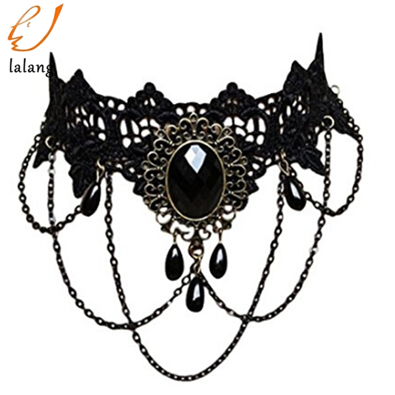 Fashion Women Vintage Retro Short Gothic Steampunk Lace Flower Choker Necklace Jewellery Statement Necklace
