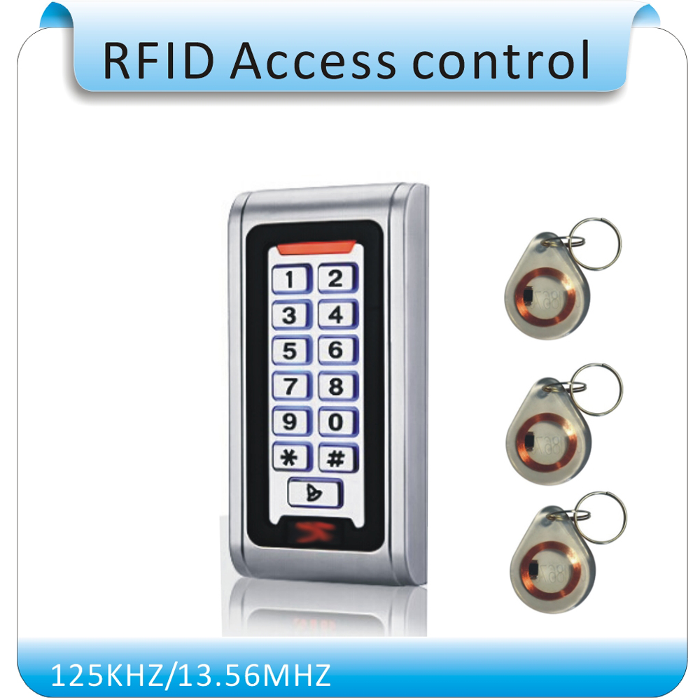 Free shipping S-600 metal shell &P6 waterproof EM125KHZ RFID +password access control Keyboard DC-12V +10 pcs crystal keytags free shipping k5 metal shell