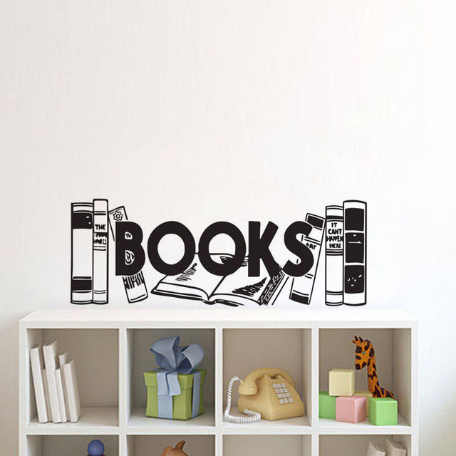 Books Wall Stickers Home Decor Living Room Kids Bookshelf Decals Vinyl Creative Murals