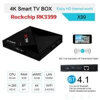 R ТВ коробка X99 Smart ТВ Box Android 7,1 RK3399 6 core 4 ГБ + 32 ГБ Bluetooth 4,1 2,4 г/5 г двойной WI FI 3D Коди H.265 4 К IP ТВ Декодер каналов кабельного телевидения