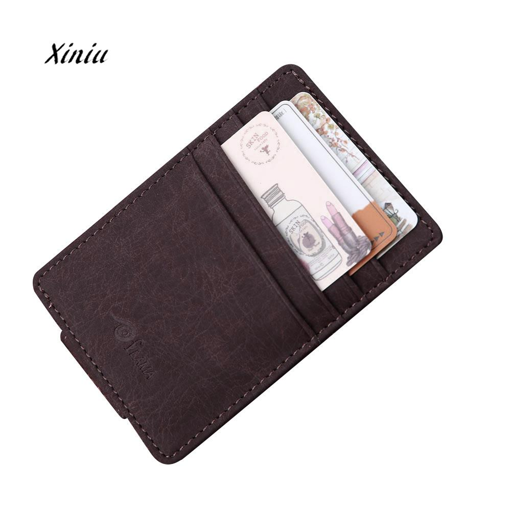 Men Leather Card Cash Receipt Holder Organizer Magnet Wallet Purse ...