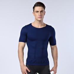 رجل مصحح الوضعية t قميص ضيق الصدر المشكل للرجال حزام خصر تقليل الدهون في البطن حرق المعدة ملابس داخلية الأسود الأبيض الأزرق