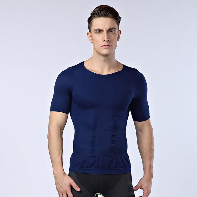 fdc9c985f6 mens posture corrector t shirt tight chest shaper for men waist belt reduce  belly fat burn stomach shapewear black white blue