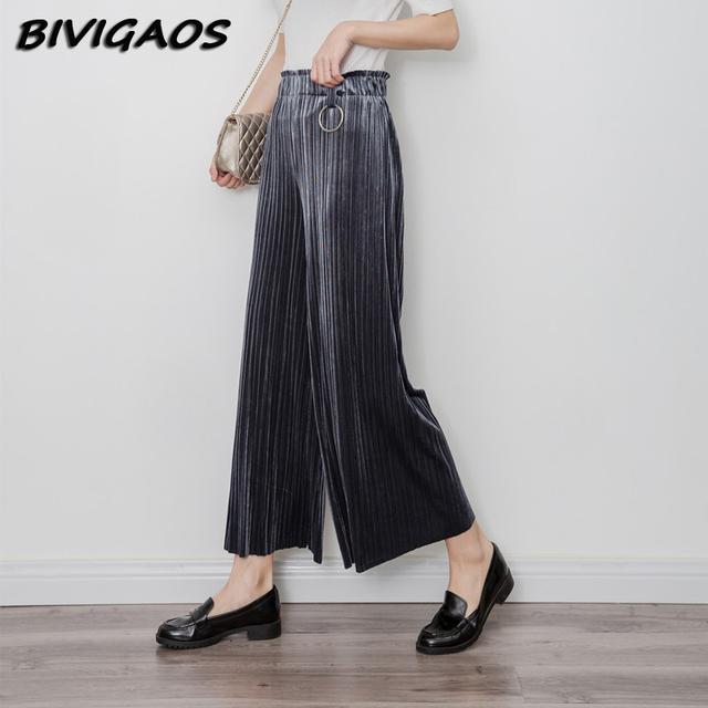 Moda Womens Casual Pleuche Do Vintage Calças Perna Larga Cintura Alta Elástico Frouxo Calças Plissadas Calças Círculo De Metal Retro Mulheres
