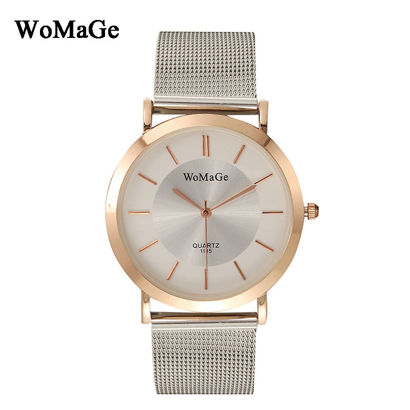 купить New Times reloj mujer Womage Brand Luxury Stainless Steel Mesh Strap Mesh Watches Quartz Fashion Women Watches relogio feminino по цене 365.83 рублей