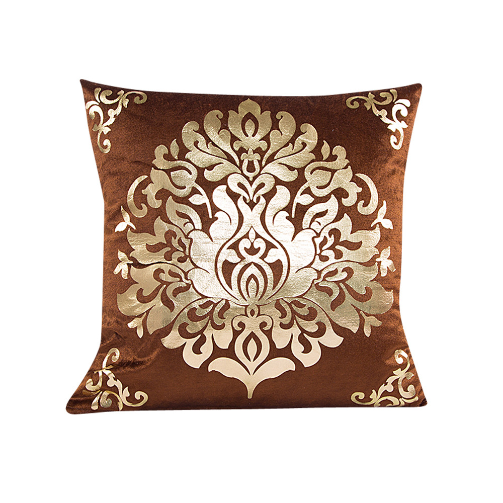 Gold velvet Square Pillow Case Sofa Waist Throw Cushion Cover Home Decor Brown Beige cushiuon covers for sofa, coffee shop