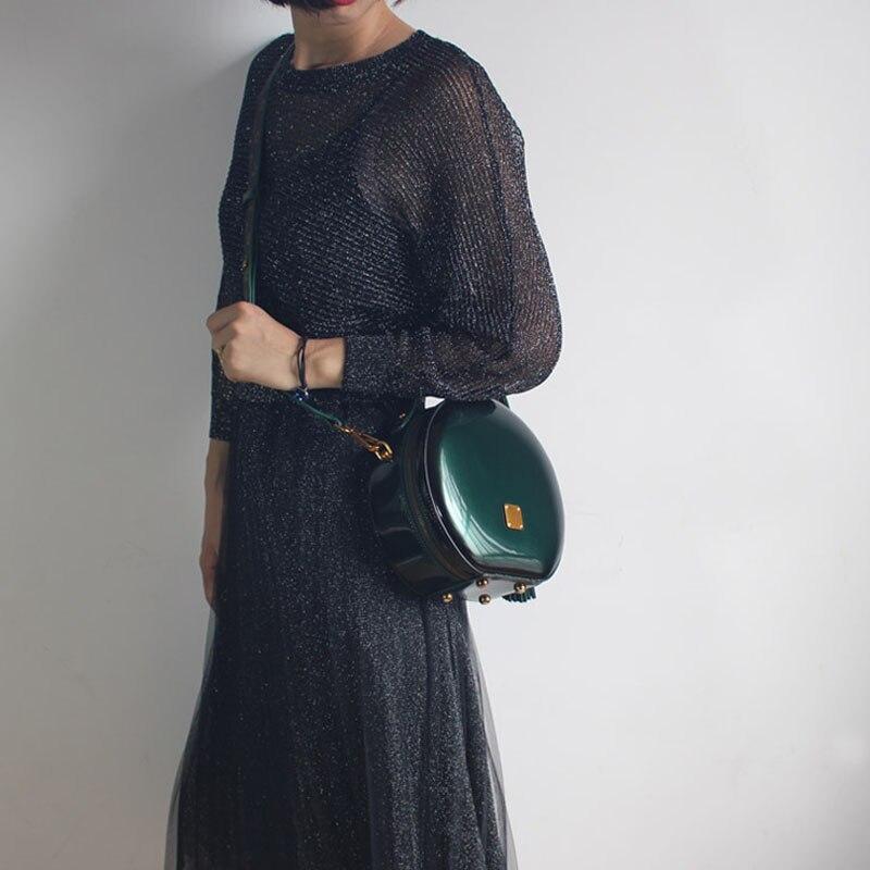 BENVICHED Das Senhoras saco de couro Real Rodada 2019 nova moda Pure color bolsa único saco de ombro de couro saco de Patente Brilhante c376 - 5
