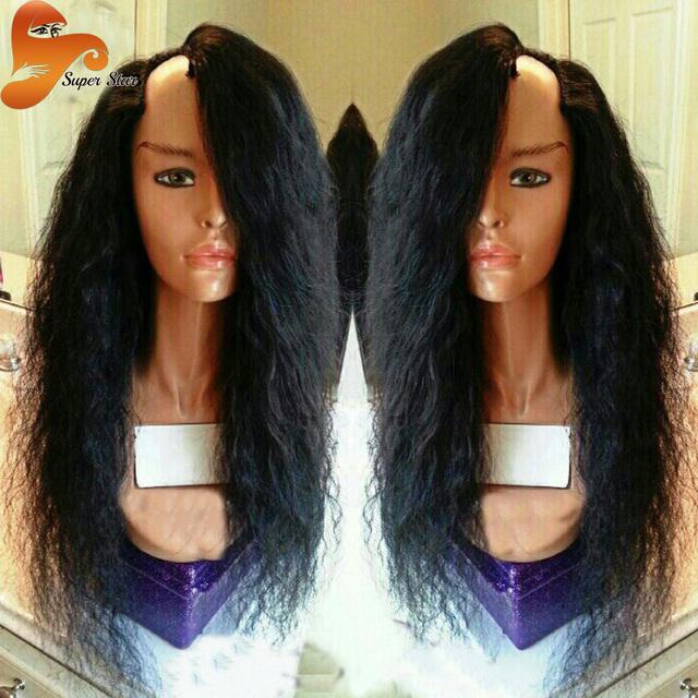 Mejor Yaki UPart Peluca Sin Procesar de la Virgen Brasileña U Parte Humana Pelucas de cabello Para Los Afroamericanos Central O Lateral U Parte Peluca