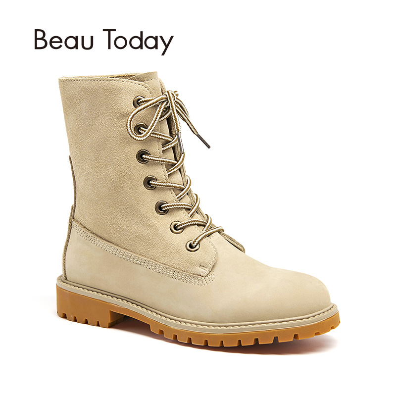 BeauToday Mid-Calf Boots Women Cow Suede Lace-Up Autumn Winter Genuine Leather Lady Top Brand Shoes Handmade 02205 стоимость