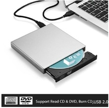 Fanshu USB External CD-RW Burner DVD/CD Reader Player with Two USB Cables for Windows, Mac OS Laptop Computer
