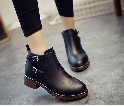 2017 Hot new Autumn Women Ankle Boots Fashion Flat Slip-on PU Leather BLACK GRAY Boots Solid Spring Shoes Woman Size 35-40