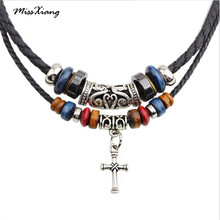 MissXiang Religion cross necklace beaded necklace double root braided leather cord necklace jewelry punk Collier for men Women