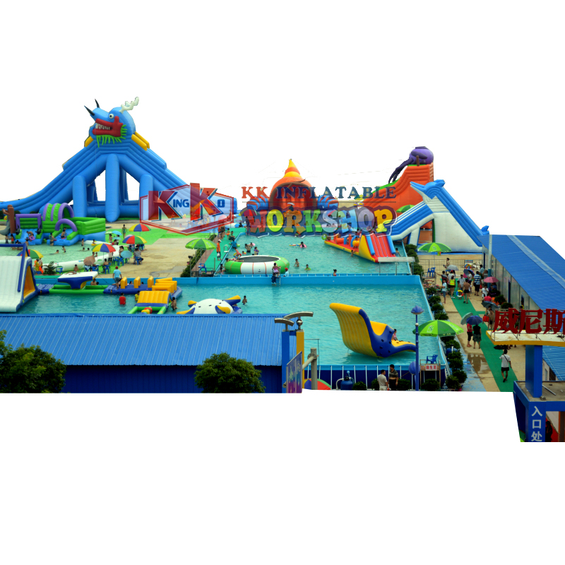 Moving Ground Outdoor Equipment Inflatable For Land / Inflatable Amusement Water Park For Kids And Adult / Child Water Park
