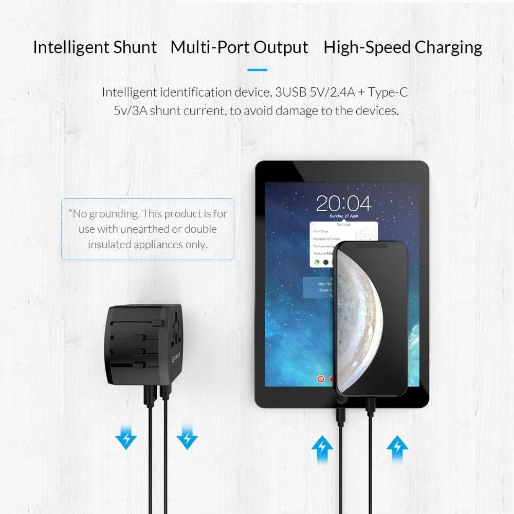 ORICO All-in-one podróży zasilacz wtyczka międzynarodowy uniwersalny zasilacz 3 USB 1 typu C 5V3. 4A maksymalna moc wyjściowa ładowarka