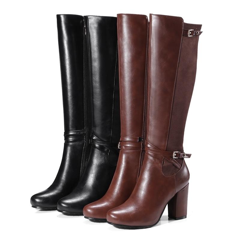 Ayakk.'ten Diz Hizası Çizmeler'de REAVE KEDI Kadın diz yüksek çizmeler Streç Geri kış sıcak Yuvarlak ayak Moda botas Kaliteli ayakkabı ayakkabı Fermuar Kalın topuk A956'da  Grup 2