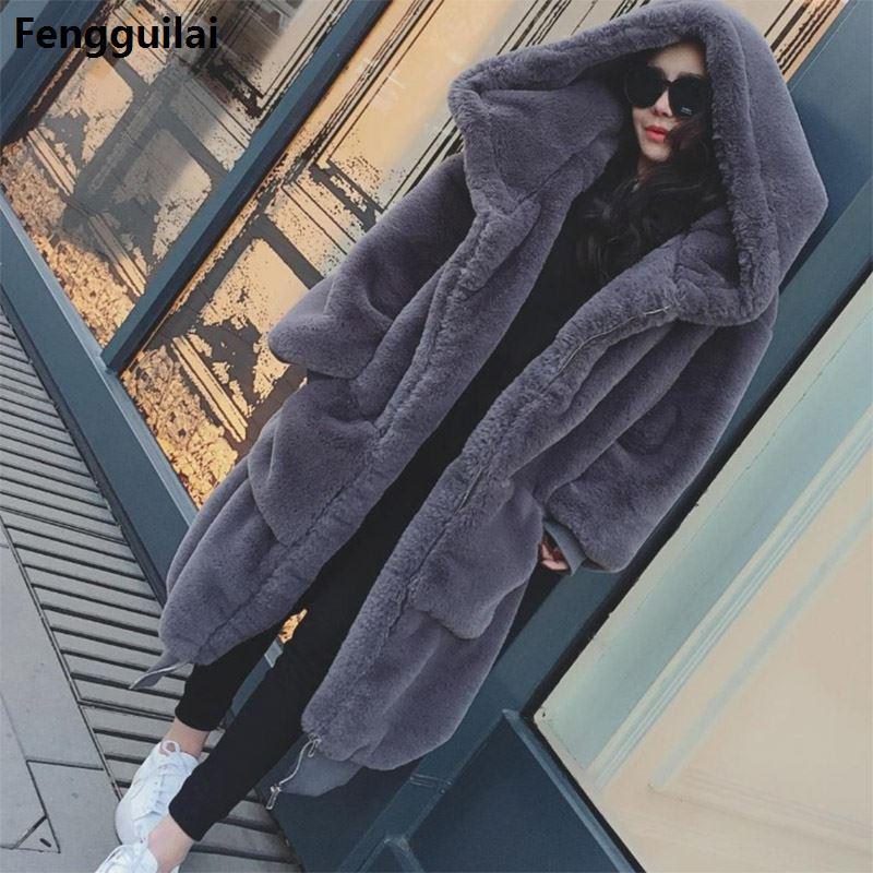 Winter Warm Hooded Large Size Medium Length Solid Color Fur & Faux Fur Women 2018 New Casual Long Sleeve Women Fur Coat
