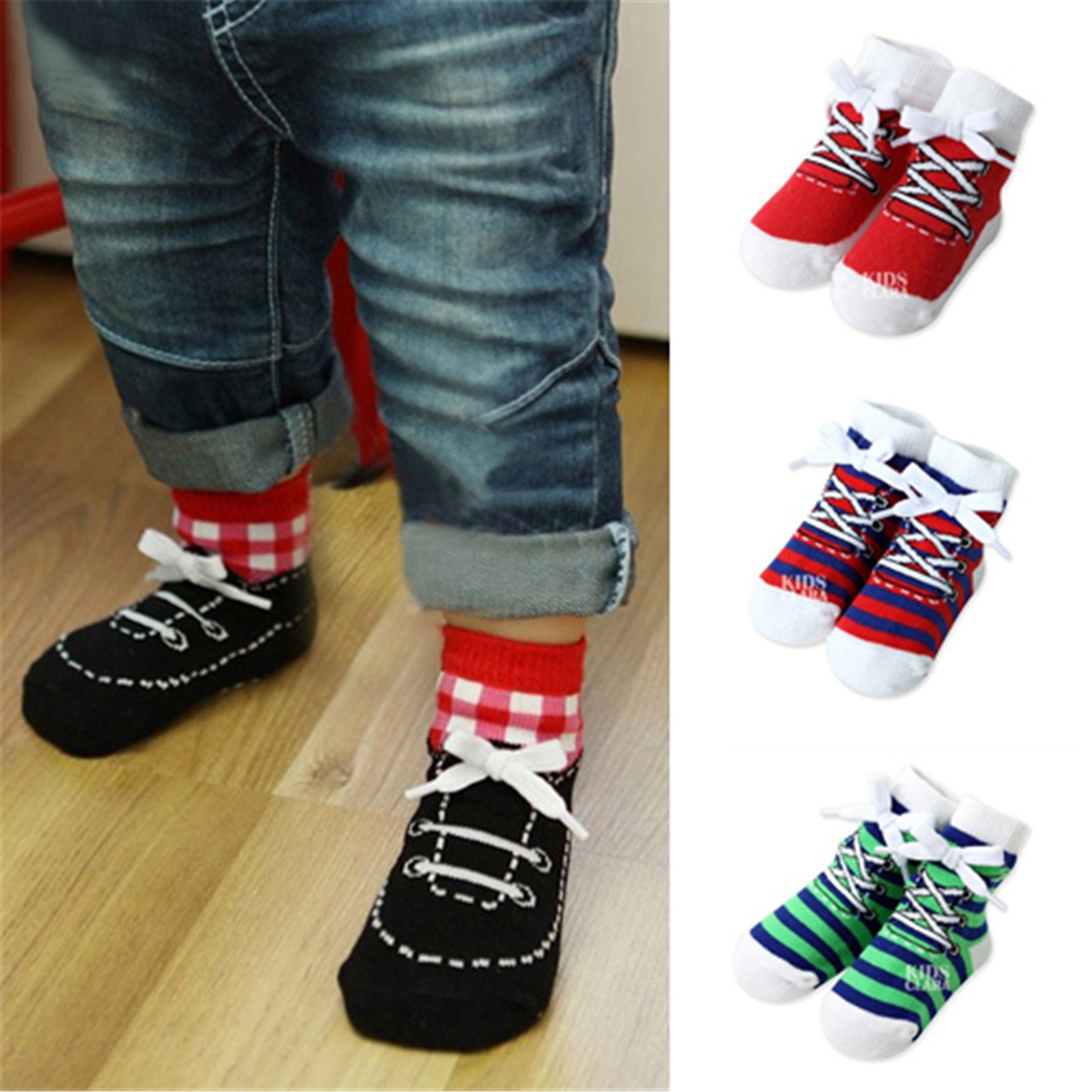 Boys And Girls Lace Up Shoes Style Socks Cotton Infant Baby Socks Kid Gentleman Clothing Accessories