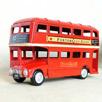 3 Sizes Handcrafted London Red Double decker Bus Metal Classic Bus Ornaments Retro Crafts For Home Decoration Bar & Store Decor