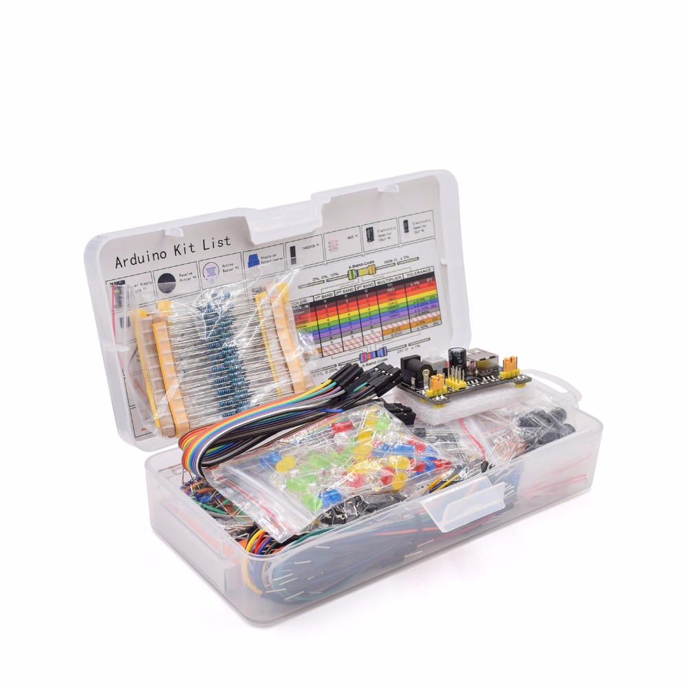 Componentes Eletrônicos Básico Starter Kit com 830 tie-pontos Breadboard Cable Resistor, Capacitor, DIODO EMISSOR de LUZ, potenciômetro