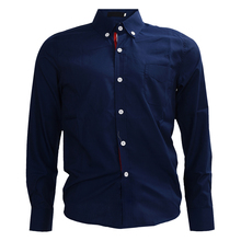 2017 NEW Dark Blue Autumn Stylish Shirts for Men Solid Color Ribbon Long Sleeve Slim Fit Casual Shirts