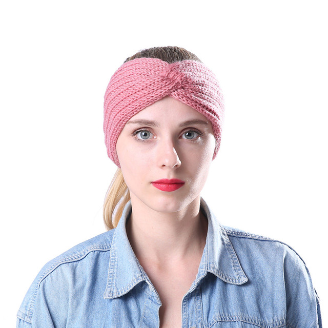 Women Hair Ball Knitting Headband Elastic Handmade Cross Design HairBand  hair accessories for women hair clips turban