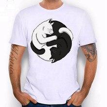 New fashion Summer Men T-shirts Short Sleeve Men T-shirts Style Comfortable Leisure cat sleeping rinting Solid O-Neck T shirt