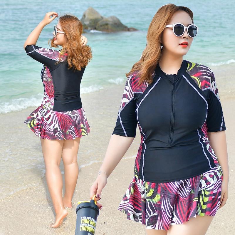 2018 Chaud plus la taille maillots de bain deux-pièce maillot de bain patchwork imprimé beachwear sport surf costume jupe monokini 3XL-6XL body