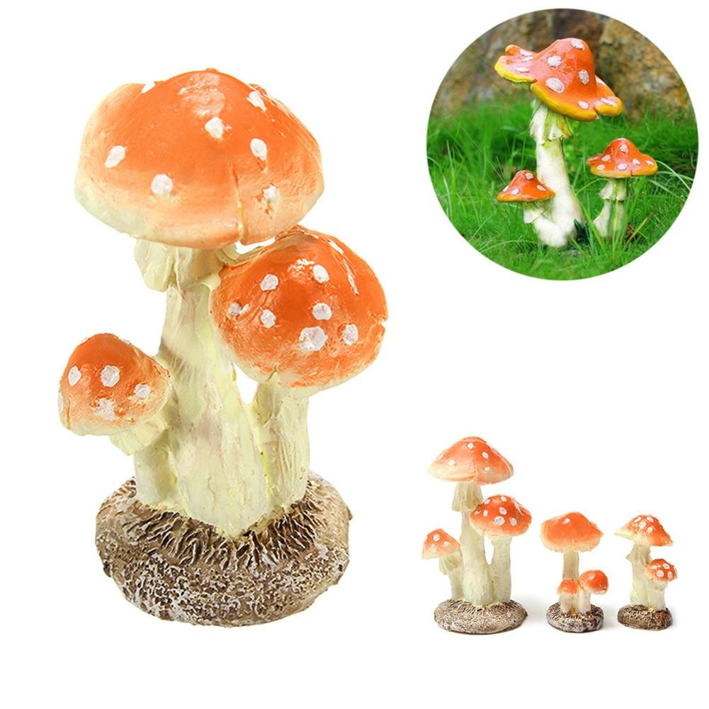 1Pc Mushroom Toadstool Figurines Resin Miniature Craft DIY Ornament Fairy Garden Ornament Decoration Terrarium Dollhouse Decor