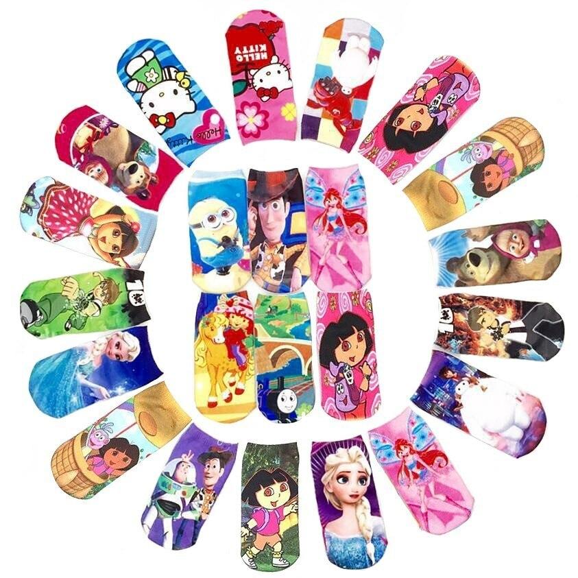 New Store Promotion 4 Pairs Of Short Socks Kid Boy Baby Girls Children Cartoon Kitty Size Elastic Socks TP01 T S 1 - 3