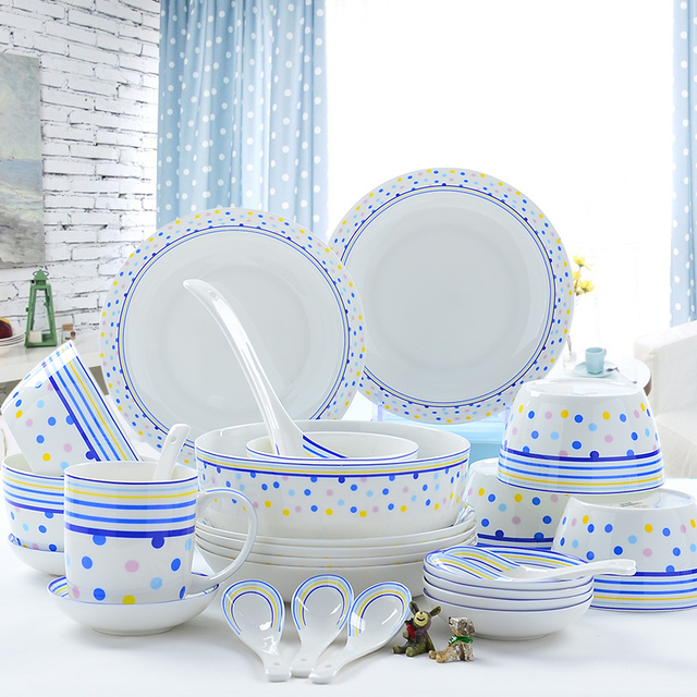 28 Teile/los, Bone China Dinerware Set, Blau Ort Malerei, Lebensmittel