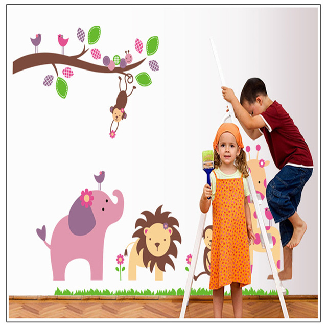 Animal Kindergarten Kids Removable Zoo Wall Stickers Home Decor AY869