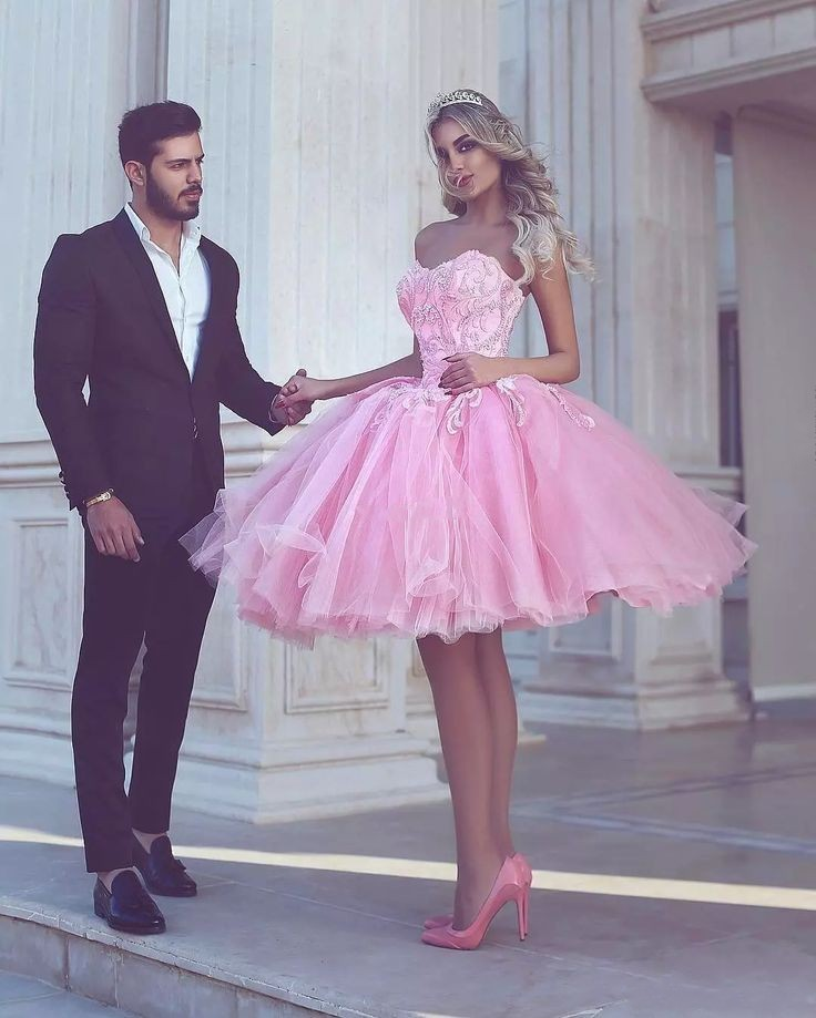 Pink Homecoming   Dresses   A-line Sweetheart Knee Length Tulle Lace Beaded Elegant   Cocktail     Dresses