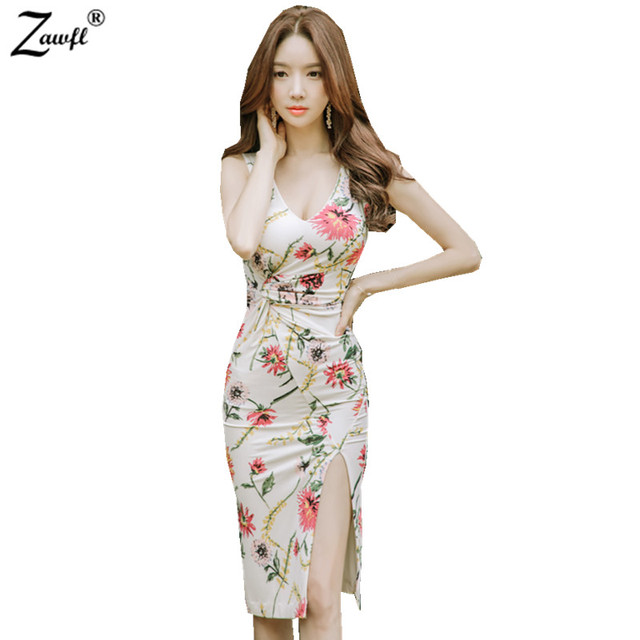 Zawfl 2018 Fashion Fl Print Summer Dress Women Bandage Package Hip Plus Size Bodycon Evening