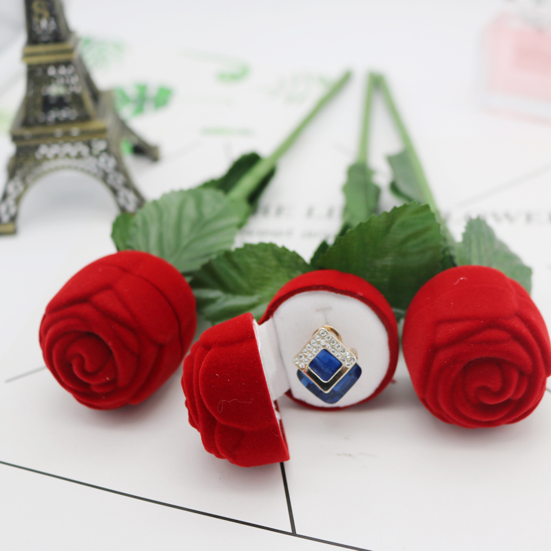 Wholesale 12pcs/lot Red Velvet Jewelry Ring Box Rose Design Earrings Box 4*27cm Jewelry Ear Studs Display Packaging Gift Box