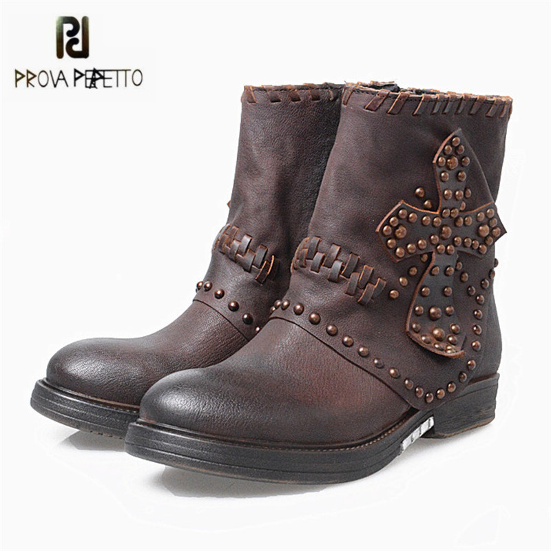 Prova Perfetto Retro Coffee Women Ankle Boots Rivets Studded Genuine Leather Flat High Boots Autumn Winter Female Platform Botas prova perfetto new hot women martin boots autumn round toe flat platform shoes woman lace up female genuine leather ankle boots