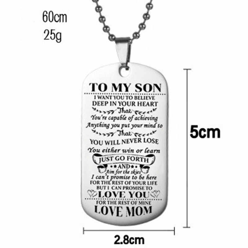 2019 new Stainless steel jewelry TO MY SON Pendant necklace party gift for women and men chain collares fashion couple necklaces