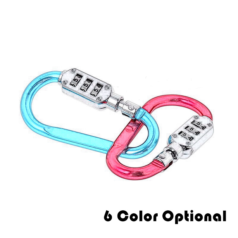 Travel D Shape Combination Lock Bag Anti-theft Camping Carabiner Hang Buckle Three-digit Password Outdoor Climbing Accessories