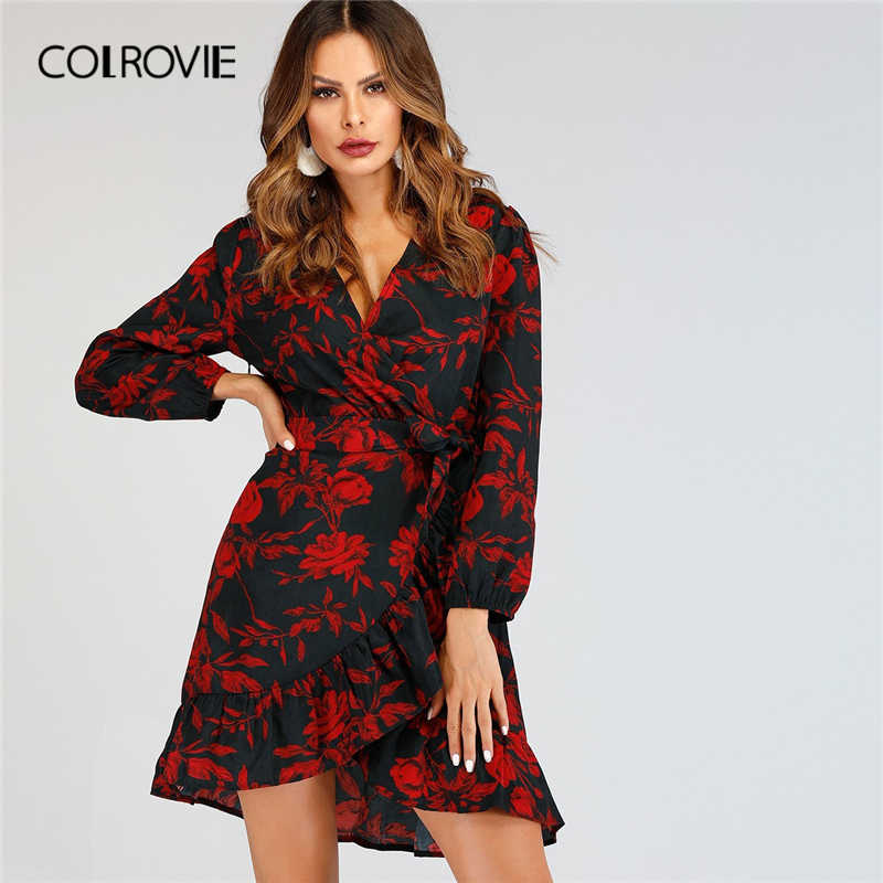 86102b9d1e COLROVIE V-Neck Ruffle Floral Print Trapeze Sexy Party Dress Women 2019  Spring Fashion Long