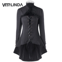 VESTLINDA Lace Trim Lace Up Dip Hem Trench Coat Fall 2017 Fashion Womens Tops Gothic High Collar Long Black Outerwear Femme
