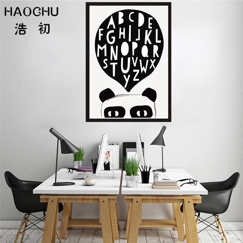 Haochu c Книги по искусству Ун панды Kawaii Животные холсте плакат стены Книги по искусству Картины quadros для детской комнате дети учатся английско...