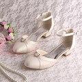 Wedopus Sandálias Das Mulheres Bombas de Casamento Sapatos De Noiva Bege de Cetim Praça Heel Verão