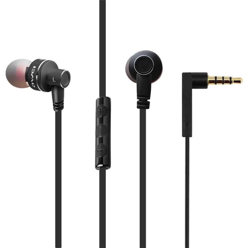 Awei ES-10TY  Stereo Earphone 3.5mm In-Ear Noise Reduction Earbuds Super Bass HIFI Headset With Mic awei es 10ty metal earphone stereo headset in ear noise reduction auriculares headphone with microphone for phone kulakl k