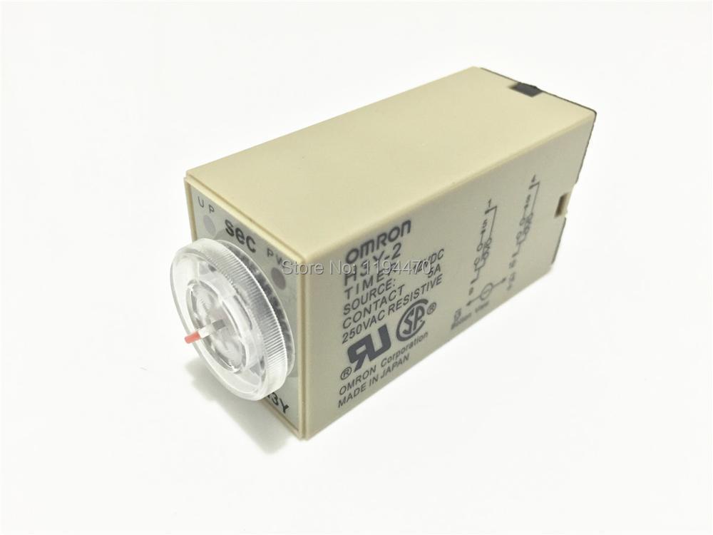 2pcs/Lot H3Y-2 DC 24V 10S Power On Delay Timer Time Relay 24VDC 10sec 0-10 second DPDT 8 Pins knob control dc24v dc12v ac110v ac220v 8p dpdt 5s seconds timer time delay relay w socket h3y 2