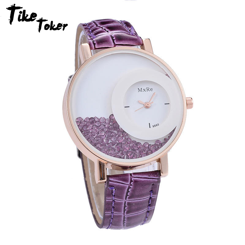 TIke Toker New Fashion Leather Strap Women Rhinestone Wrist Watches Casual Women Dress Watches Crystal Solid Color Hot Relogio trendy alluring spaghetti strap sleeveless spliced solid color women s dress