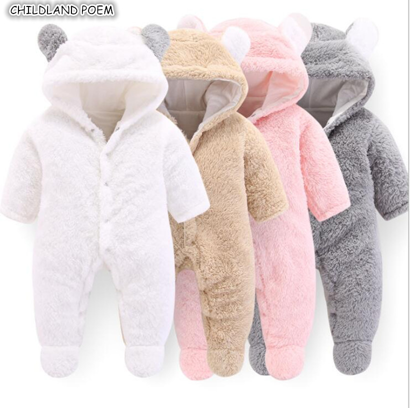 New Born Baby Clothes Winter Newborn Baby Romper For Boys Animal Fleece Soft Thicken Baby Girl Romper Hooded Baby Jumpsuit Boys newborn baby boys girls fleece romper christmas santa claus printed hooded jumpsuit long sleeved cotton romper warm clothes
