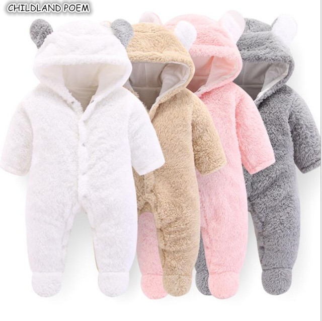eb2d1e98e8df New Born Baby Clothes Winter Newborn Baby Romper For Boys Animal Fleece  Soft Thicken Baby Girl Romper Hooded Baby Jumpsuit Boys