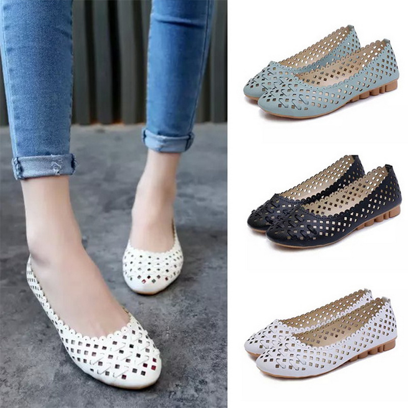 Summer Women Shoes Slip on Flat Shoes Cut-out Sandals Comfortable Woman Flats black Loafers Ladies Shoes zapatos mujer breathable loafers sweet bowtie platform shoes woman 2017 summer slip on ballet flats casual cut out creepers women sandals f05
